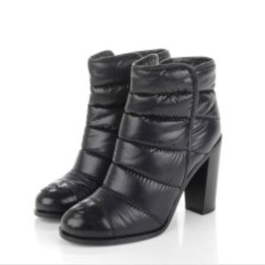 Authentic CHANEL calfskin nylon quilted booties!